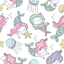 Cute cartoon little mermaid coloring page. Cool hand drawn vector seamless pattern with mermaid under water in the sea