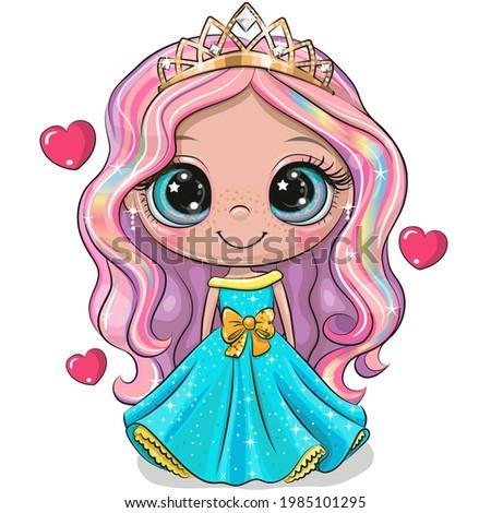 cute cartoon little princess in