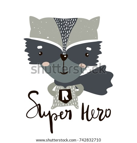 Cute cartoon little raccoon hero. Childish print for nursery, kids apparel,poster, postcard. Vector Illustration