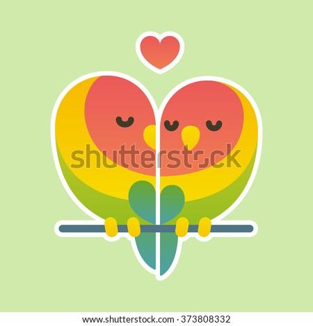 cute cartoon lovebird parrots