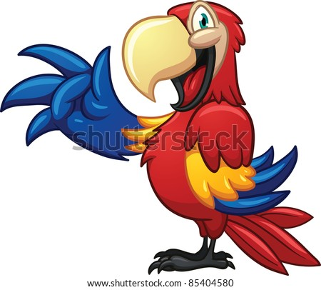 cute cartoon macaw vector
