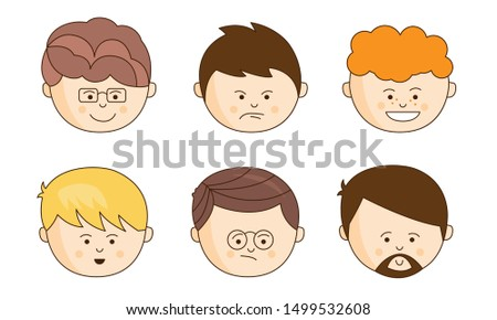 Cute Cartoon Male Faces Showing Different Emotions Set, Face Expressions of Man Vector Illustration