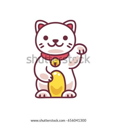 Cute cartoon Maneki Neko, Japanese lucky cat. Adorable vector drawing of good luck Feng Shui kitty.