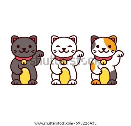 Cute cartoon Maneki Neko, Japanese lucky cats. Black, white and calico Feng Shui kitty vector illustration set.