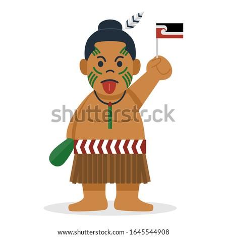 Cute cartoon maori in traditional costume, Vector Illustration