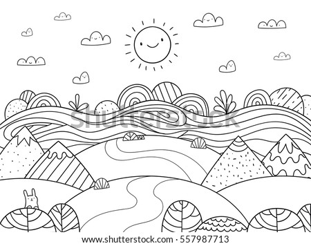 Cute cartoon meadow with mountain, bunny and river. Kids coloring page.