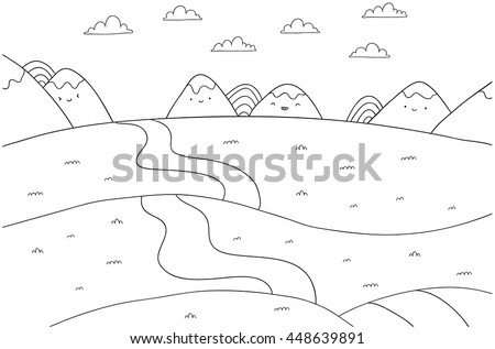 cute cartoon meadow with