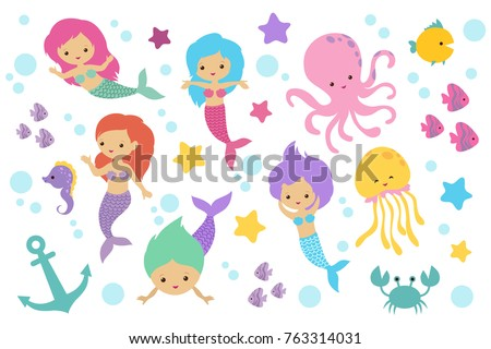 cute cartoon mermaids  sea