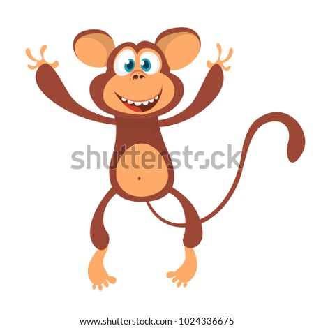 Cute cartoon monkey character icon. Chimpanzee mascot waving hand and presenting. Isolated on white background. Vector illustration
