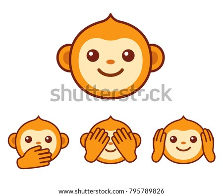 cute cartoon monkey face icon