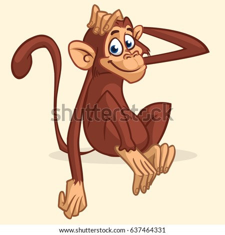 Cute cartoon monkey sitting. Vector illustration of chimpanzee stretching his head. Children book illustration or sticker