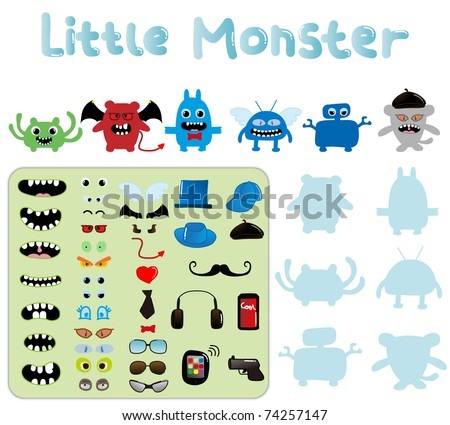 cute cartoon monster a set of