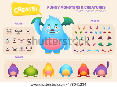 cute cartoon monster creation
