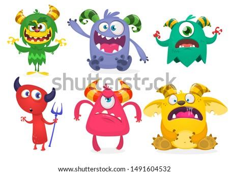 Cute cartoon Monsters. Set of cartoon monsters: ghost, goblin, cyclops; bigfoot yeti, troll, devil and alien . Halloween design