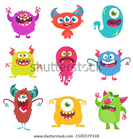Cute cartoon Monsters. Set of cartoon monsters: goblin or troll, cyclops, ghost,  monsters and aliens. Halloween design Foto stock ©