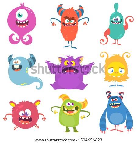 Cute cartoon Monsters. Set of cartoon monsters: goblin or troll, cyclops, ghost,  monsters and aliens. Halloween design