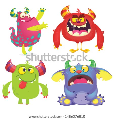 Cute cartoon Monsters. Set of cartoon monsters: goblin or troll, monster and alien . Halloween design