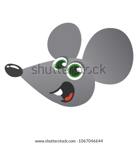Cute cartoon mouse head icon. Vector illustration isolated