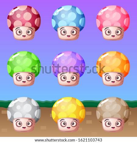 cute cartoon mushroom many