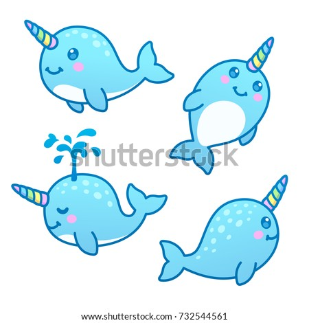 Cute cartoon narwhal drawing set. Funny kawaii characters vector illustration.