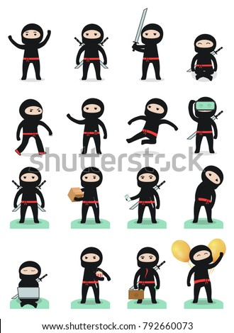 cute cartoon ninja set with