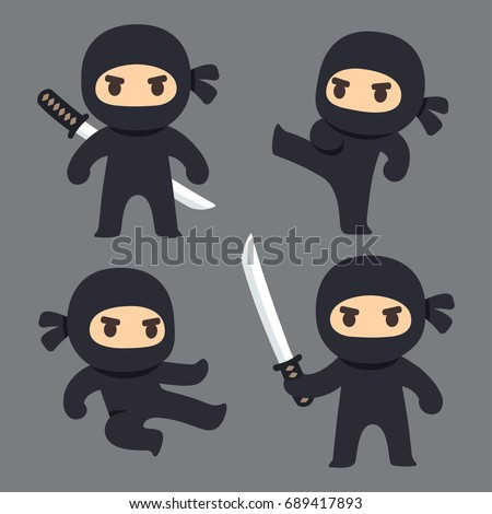 cute cartoon ninja with katana
