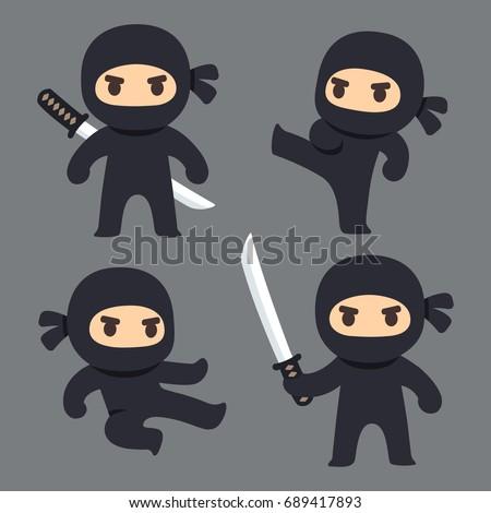 cute cartoon ninja with katana