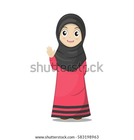 Cute Cartoon Of a Muslim Girl Vector Illustration.