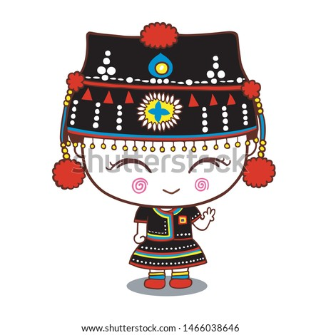 Cute cartoon of hill tribe girl dress, Hmong, northern tribe, of thailand
