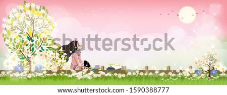 cute cartoon of schoolgirl with