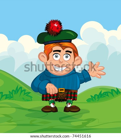 Cute cartoon of scotsman. He is waving Сток-фото ©