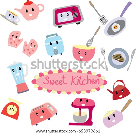 Cute cartoon of Sweet pink kitchen electricity and tool cute icon set vector