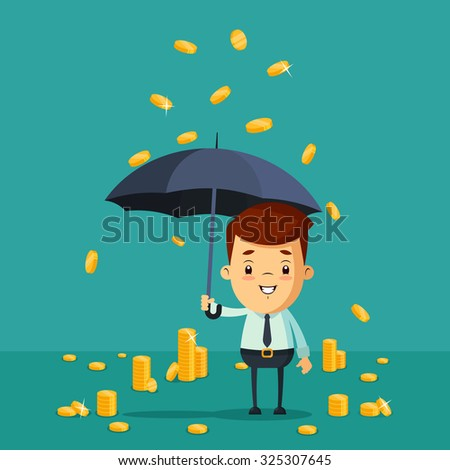 Cute Cartoon Office Worker with Umbrella Standing Under the Rain of Golden Coins. Vector Illustration