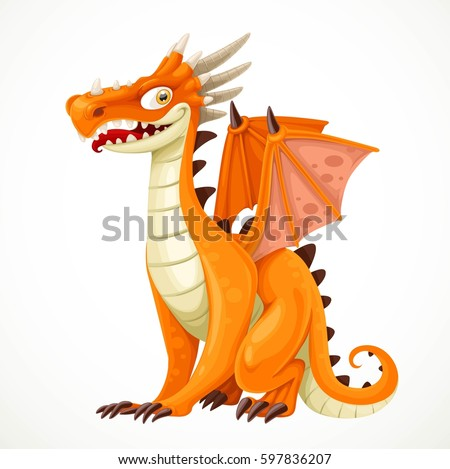 cute cartoon orange dragon