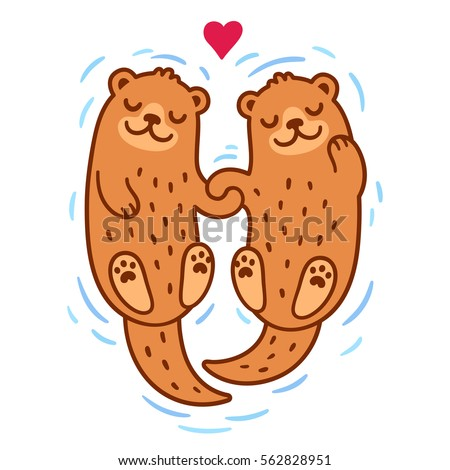 Cute cartoon otter couple holding hands. Valentine's Day greeting card illustration.