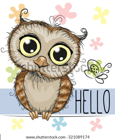cute cartoon owl and a