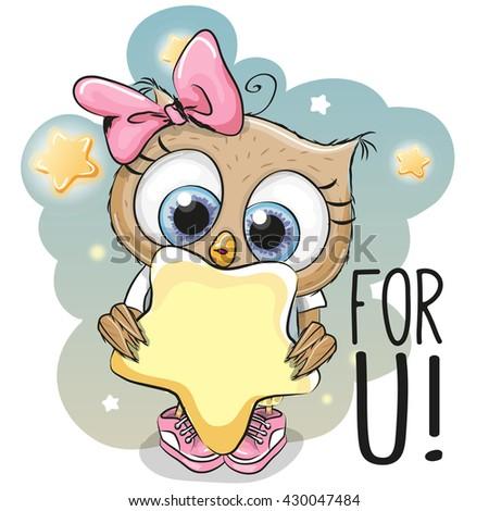 cute cartoon owl girl with star