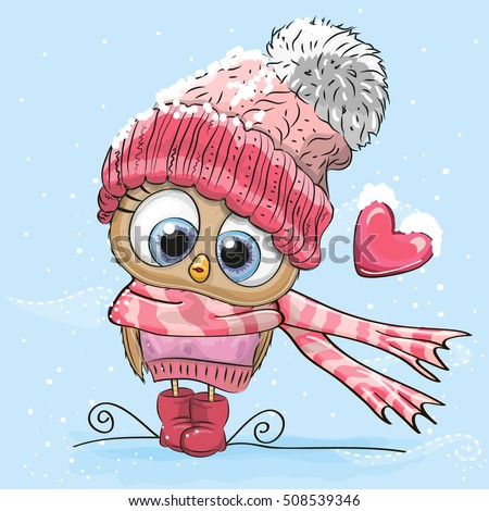 cute cartoon owl in a hat and