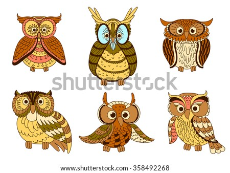 cute cartoon owls  owlets and