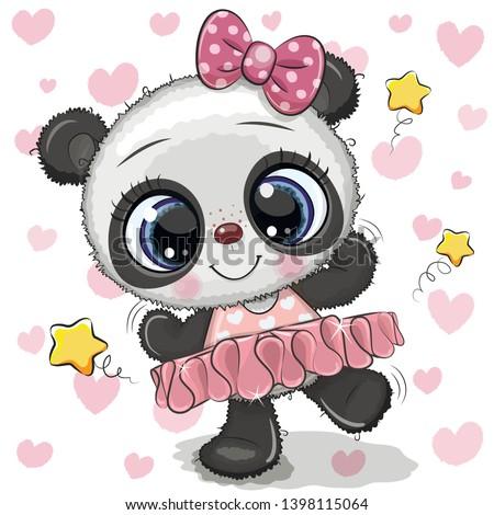 Cute Cartoon Panda Ballerina on a hearts background
