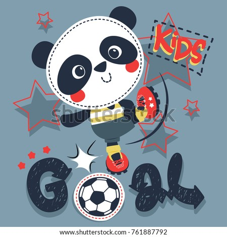 cute cartoon panda boy kicking