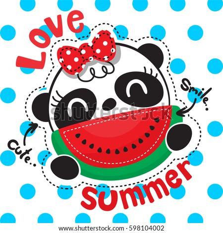 Cute cartoon panda girl with watermelon slice smiling on polka dots background illustration vector.
