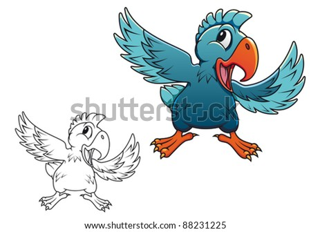 Cute cartoon parrot isolated on white background, such a logo. Jpeg version also available in gallery