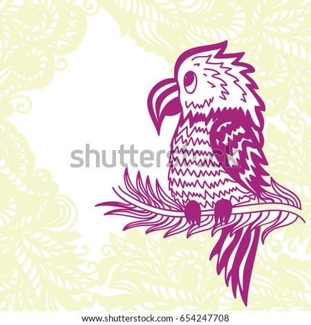 Cute cartoon parrot. Vector illustration.