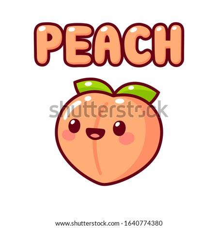 Cute cartoon peach with kawaii face and text lettering Peach. Simple hand drawn doodle, isolated vector clip art illustration.