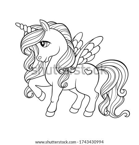 Cute cartoon pegasus. Pony princess. Unicorn. Black and white vector illustration for coloring book