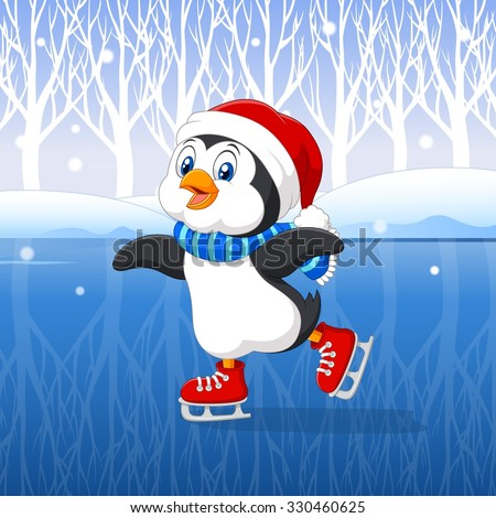 cute cartoon penguin doing ice