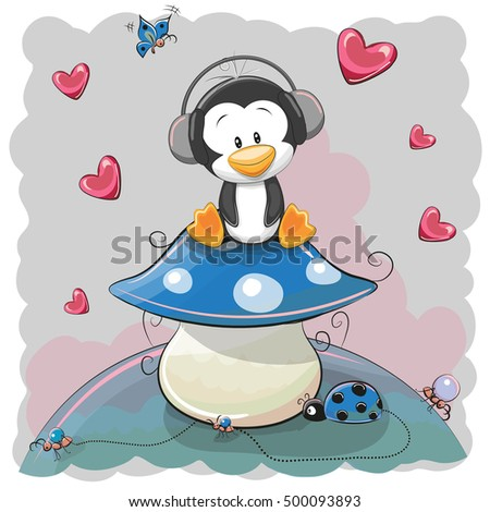 cute cartoon penguin on the