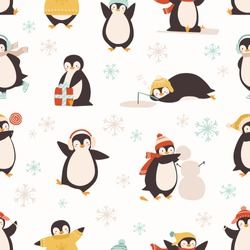 Cute cartoon penguin seamless pattern. Funny arctic animal wearing warm winter clothing and hats isolated on white. Different positive penguins enjoying various activity vector graphic illustration