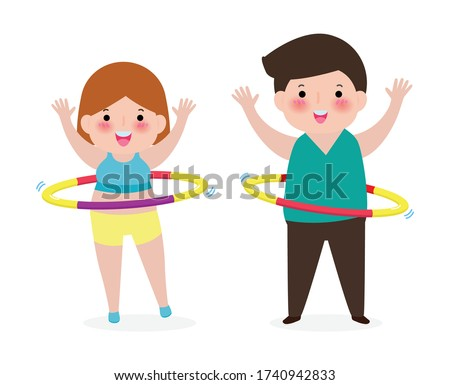 Cute cartoon people couple doing hula hoop, man and woman exercises with hula hoop, person playing hoola hoop, Weight loss concept, healthy and fitness isolated on white background vector illustration
